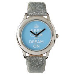 Kid's Silver Glitter Strap Watch with Keep Calm and Dream On design