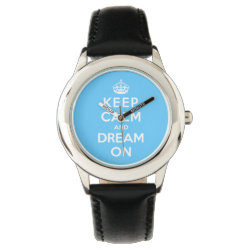Kid's Stainless Steel Black Leather Strap Watch with Keep Calm and Dream On design