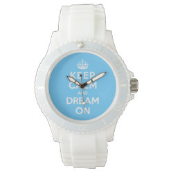 Women's Sporty White Silicon Watch with Keep Calm and Dream On design