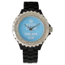 Women's Rhinestone Black Enamel Watch with Keep Calm and Dream On design