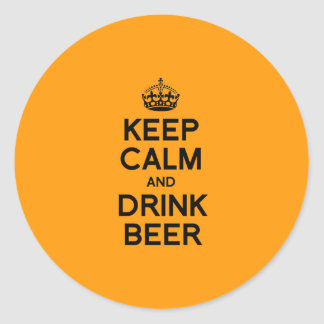 KEEP CALM AND DRINK BEER - Halloween -.png Round Stickers