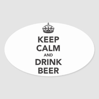 Keep Calm And Drink Beer Phrase Oval Sticker