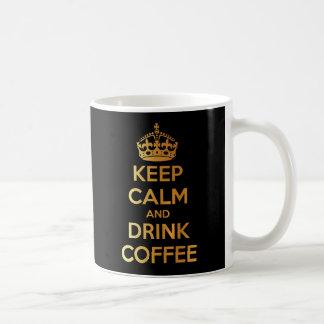 Keep calm and drink coffee gold and black mug