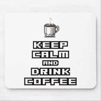 Keep calm and drink coffee retro pixel art mouse pad