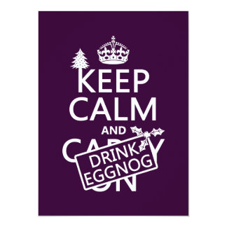 Keep Calm and Drink Eggnog (customize colors) Card