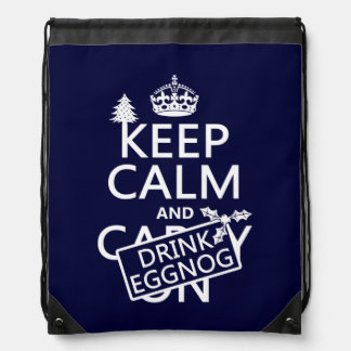 Keep Calm and Drink Eggnog (customize colors) Drawstring Backpack