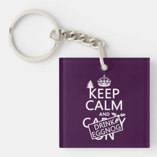 Keep Calm and Drink Eggnog (customize colors) Keychain