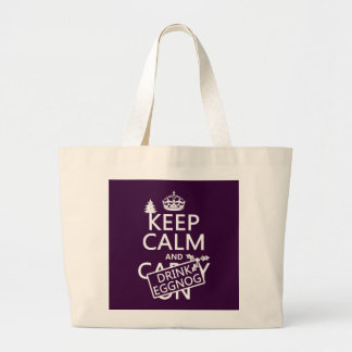 Keep Calm and Drink Eggnog (customize colors) Large Tote Bag