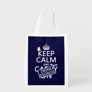 Keep Calm and Drink Eggnog (customize colors) Reusable Grocery Bag