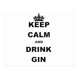 KEEP CALM AND DRINK GIN POSTCARD