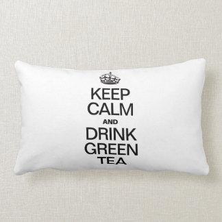 KEEP CALM AND DRINK GREEN TEA LUMBAR PILLOW