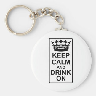 Keep Calm and Drink On - British Government Parody Keychain