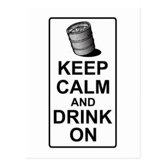 Keep Calm and Drink On - British Keg Parody Postcard