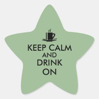 Keep Calm and Drink On Coffee Tea Customizable Star Sticker