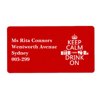 Keep Calm and Drink On (customisable colours) Personalized Shipping Labels