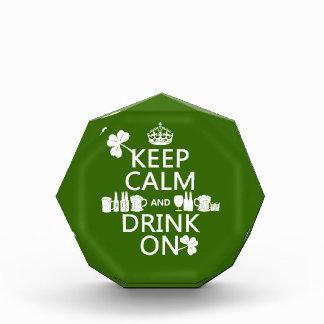 Keep Calm and Drink On irish st patricks Award