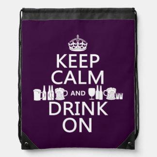Keep Calm and Drink On (irish st patricks) Drawstring Bag