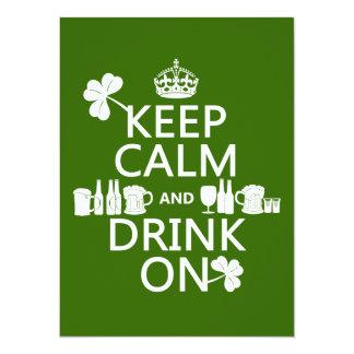 Keep Calm and Drink On (irish st patricks) 5.5x7.5 Paper Invitation Card