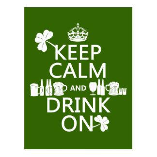 Keep Calm and Drink On (irish st patricks) Postcard
