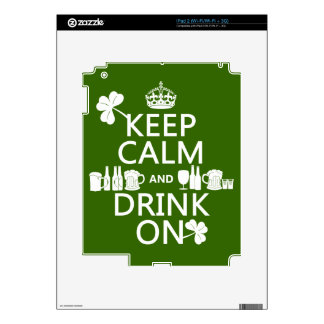 Keep Calm and Drink On (irish st patricks) iPad 2 Decal