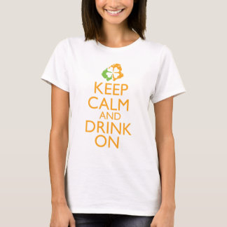 Keep Calm and Drink On Shamrock orange T-Shirt