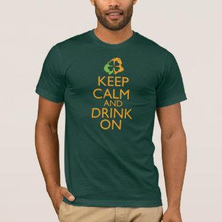 Keep Calm and Drink On Shamrock orange T-Shirt