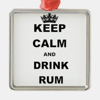KEEP CALM AND DRINK RUM METAL ORNAMENT