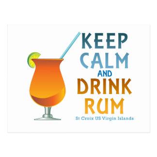 Keep Calm and Drink Rum :: St Croix USVI Postcard
