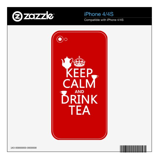 Keep Calm and Drink Tea - All Colors iPhone 4 Decals