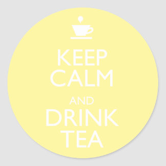 KEEP CALM AND DRINK TEA CLASSIC ROUND STICKER