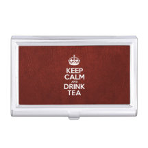 Keep Calm and Drink Tea - Glossy Red Leather Business Card Cases