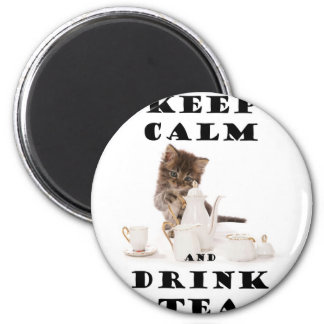 keep calm and drink tea kitten magnet