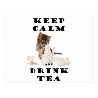 keep calm and drink tea kitten postcard