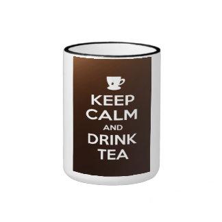 Keep calm and drink tea ringer coffee mug