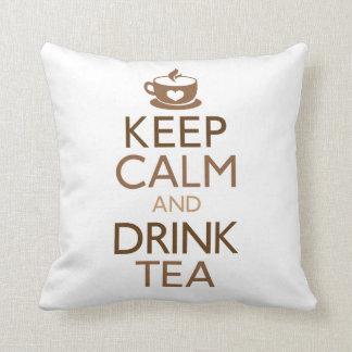 Keep Calm and Drink Tea Throw Pillow