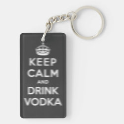 Rectangle Keychain (double-sided) with Keep Calm and Drink Vodka design