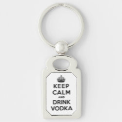 Rectangle Metal Keychain with Keep Calm and Drink Vodka design