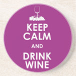 Keep calm and drink wine alcohol grapes glass fun beverage coaster