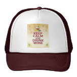 Keep Calm and Drink Wine Gift Unique Art Design Mesh Hats