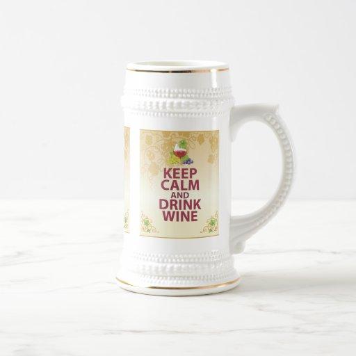 Keep Calm and Drink Wine Gift Unique Art Design 18 Oz Beer Stein