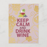Keep Calm and Drink Wine Gift Unique Art Design Postcard