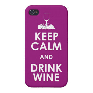 Keep Calm and drink wine grapes alcohol social dri Covers For iPhone 4