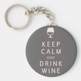 Keep Calm and Drink Wine Keychain