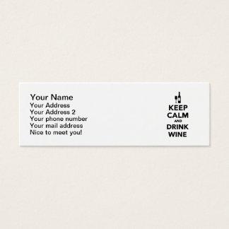 Keep calm and drink Wine Mini Business Card