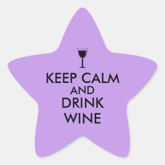 Keep Calm and Drink Wine Wine Lover Custom Star Sticker