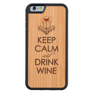 Keep Calm and Drink Wine Wood iPhone Carved® Cherry iPhone 6 Bumper Case