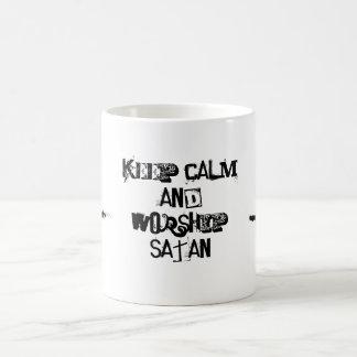 Keep calm and drink with satan classic white coffee mug
