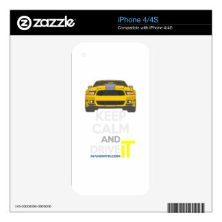 Keep Calm and Drive IT - cod. Mustang302Boss Decal For The iPhone 4