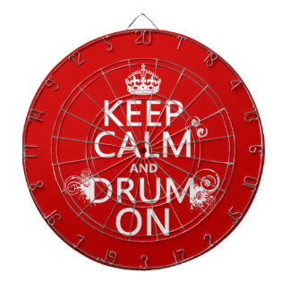 Keep Calm and Drum On (any background color) Dartboard With Darts