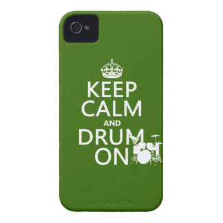 Keep Calm and Drum On (any background color) iPhone 4 Cover